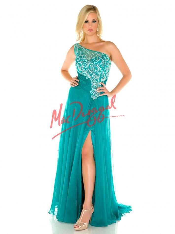 Teal Plus Size Prom Dress with One Shoulder Neckline | Mac Duggal ...