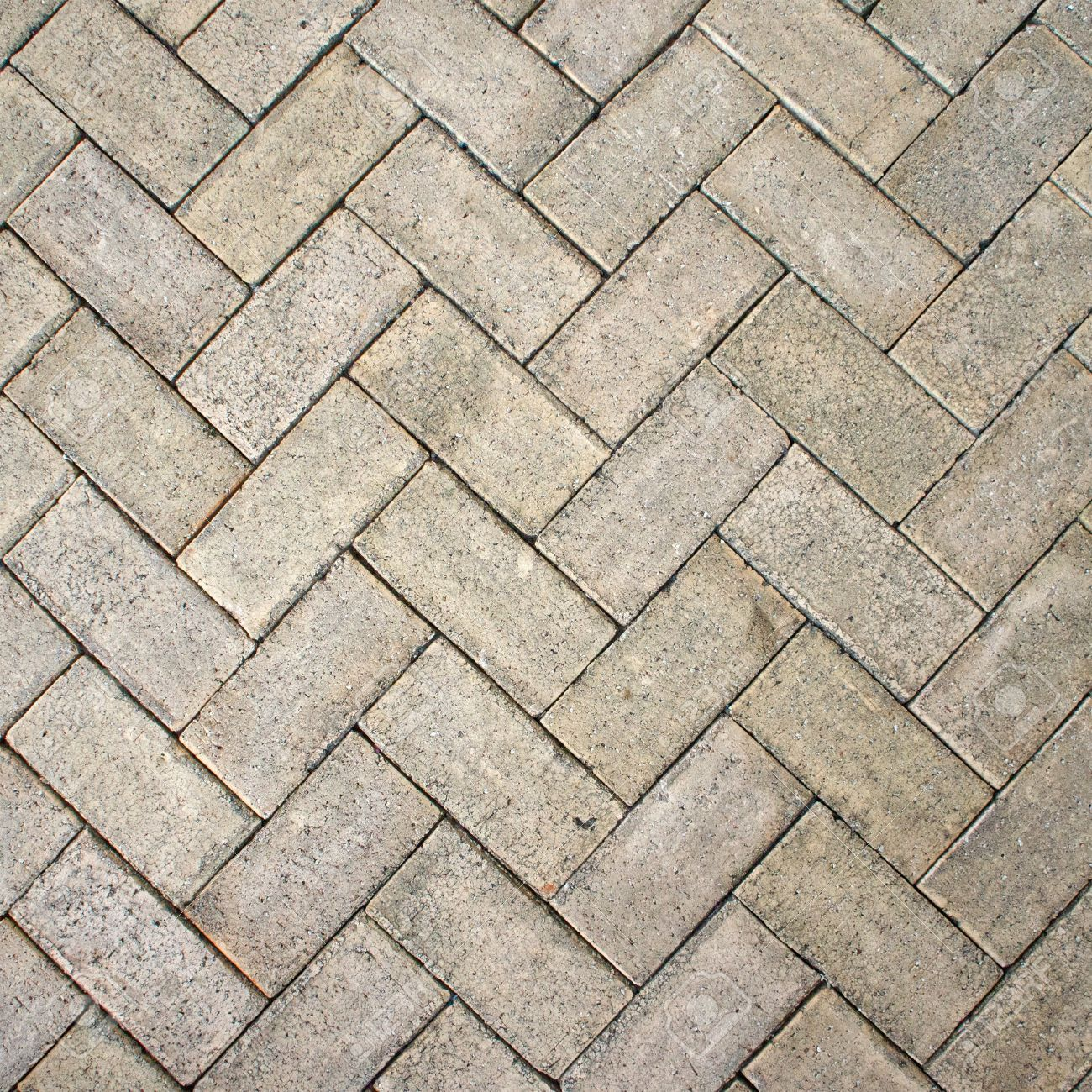 Light Brown Zigzag Brick Block Floor Texture For Background Stock