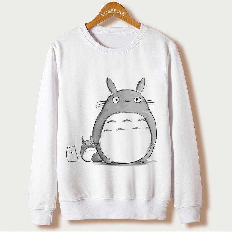 d4748807ac9a 2016 Otoño Ropa Totoro de Dibujos Animados Harajuku Sudadera Mujeres  Camiseta Ocasional Impresión de La Manga Completa Sudaderas Mujer O cuello  Moletom en ...