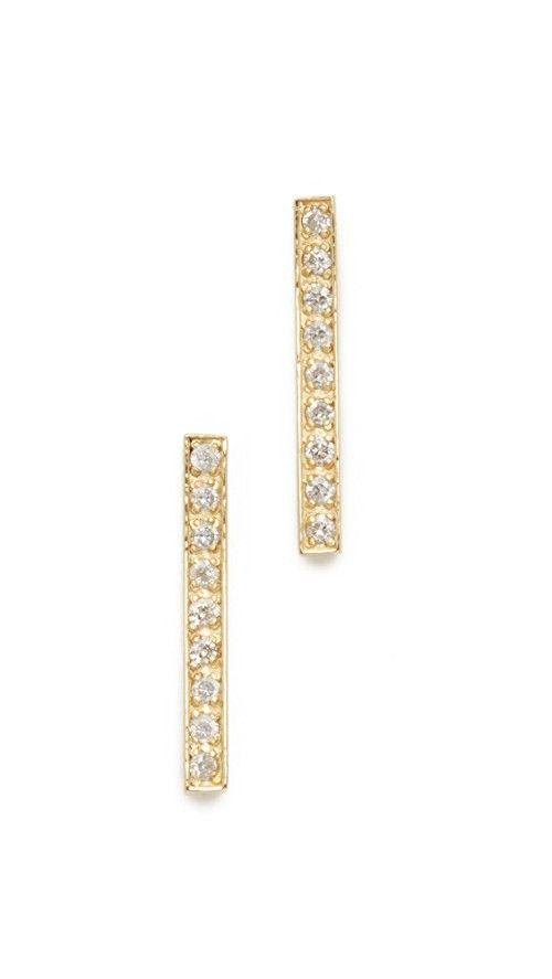 Jennifer Meyer 18k Gold Bar Diamond Stud Earrings XFU6gH0Hs2