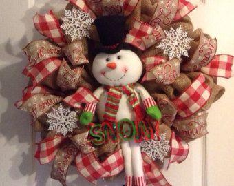 Snowman Wreath/ Winter Wreath/ Burlap by Wreaths4u2byPaula