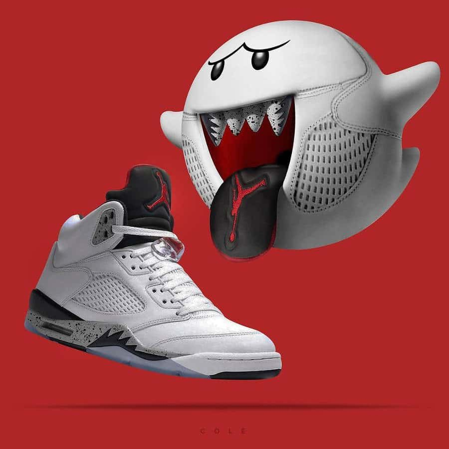 huge discount 96785 9994f Boo Super Mario Bros x Air Jordan 5 Retro Cement