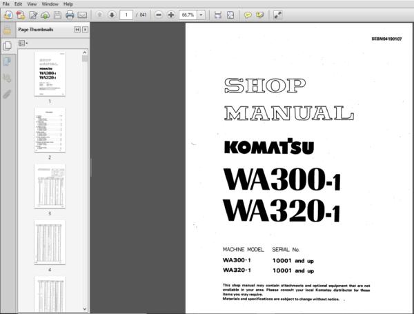 Komatsu Wa300 1 Wa320 1 Wheel Loader Shop Manual 10001 And Up Pdf Download Komatsu Manual Control Valves