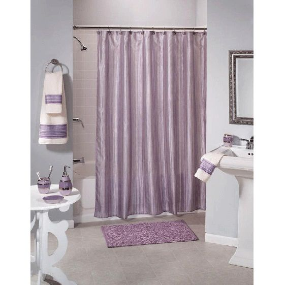 Shimmer Stripe Purple Fabric Shower Curtain