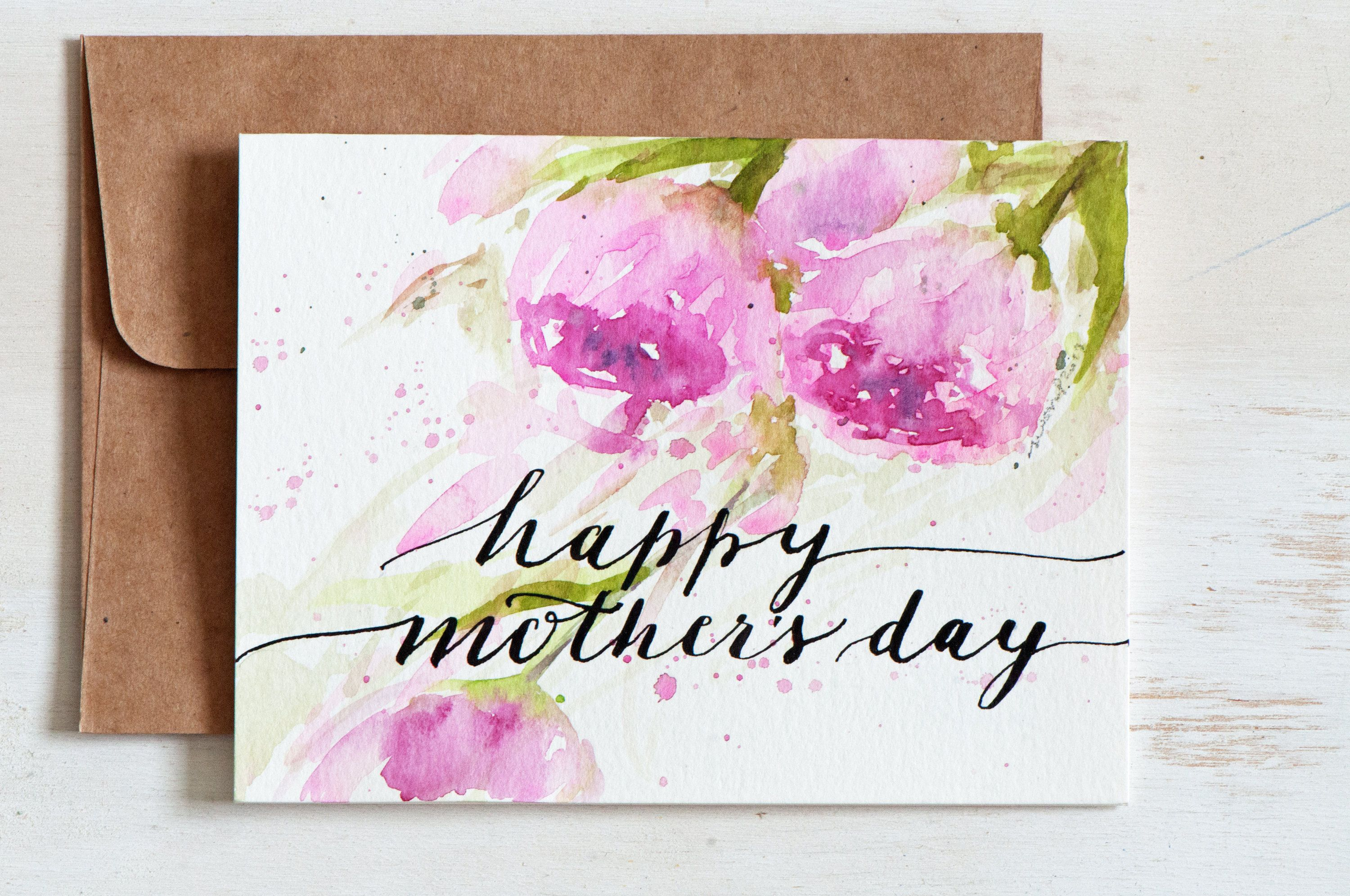 Mothers Day Card Unique Hand Painted Watercolor Cards Hand
