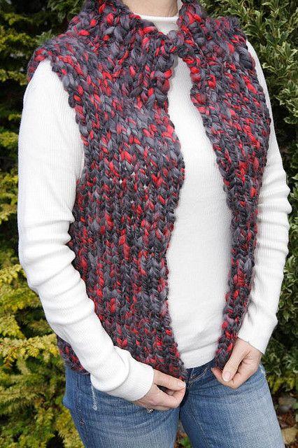 Vest around in one piece handmade knitted