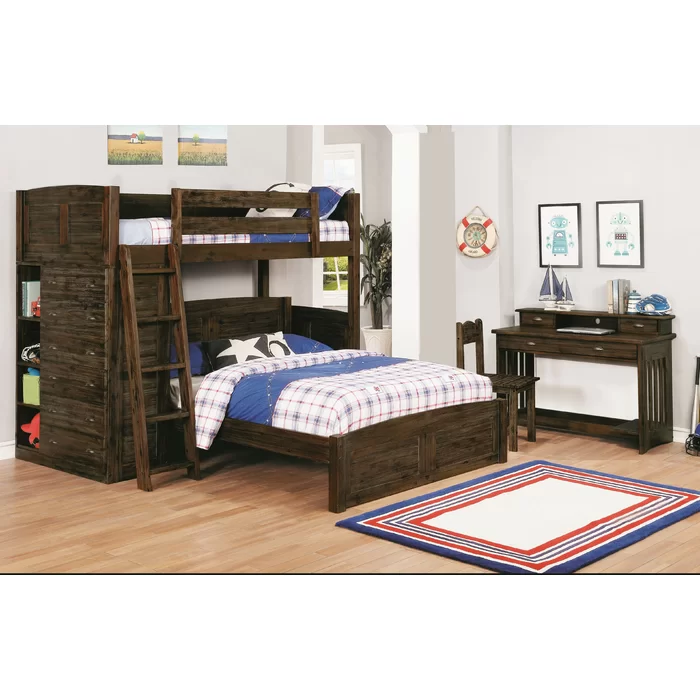 Batista Twin Over Full LShaped Bunk Bed with Bookcase in