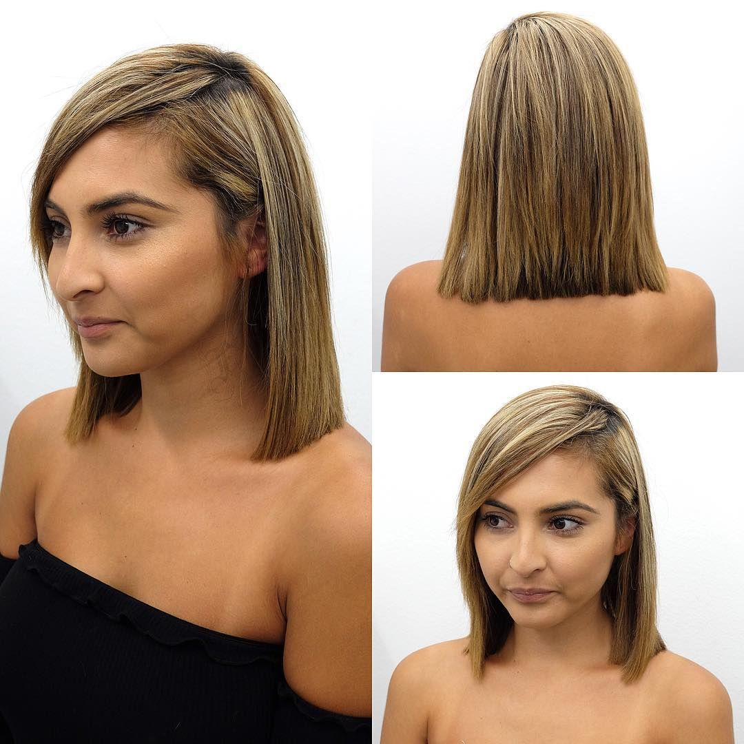 Blunt Shoulder Length Bob With Side Swept Bangs And Highlights The Latest Hairstyles For Men And Women 2020 Hairstyleology Side Bangs Hairstyles Straight Hairstyles Medium Medium Length Hair Styles