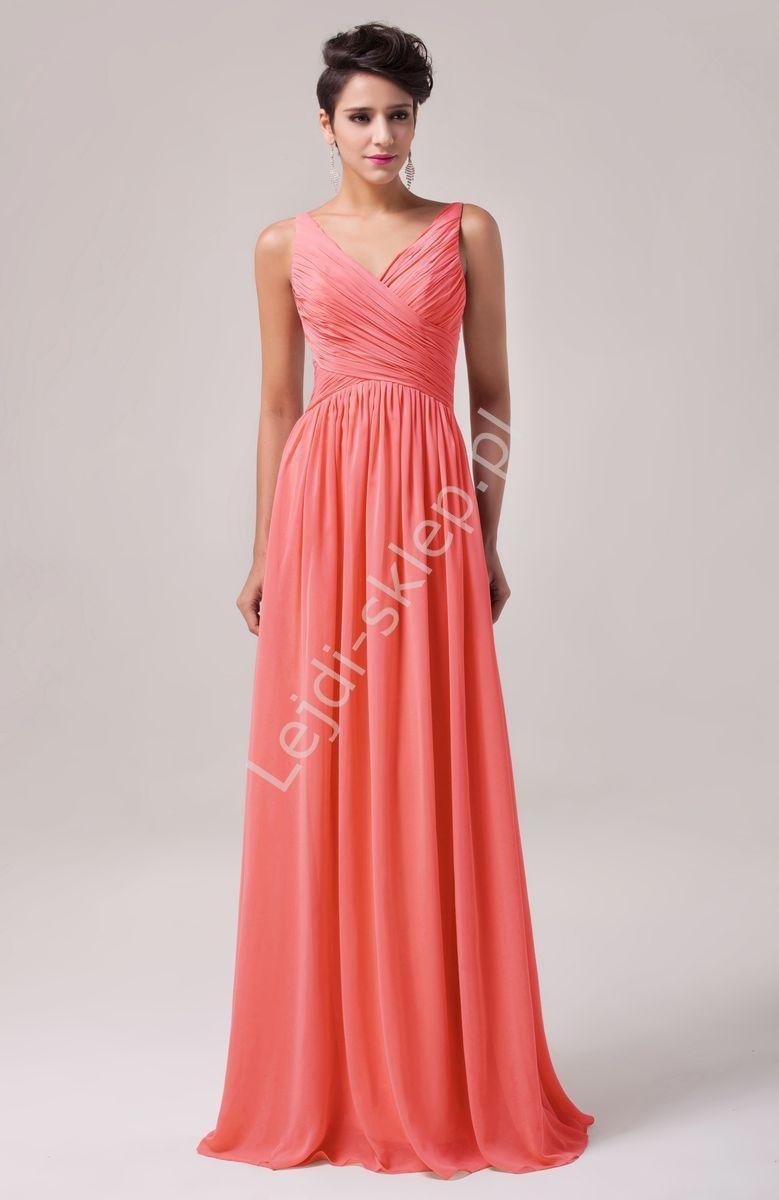 5d8b6747e Długa koralowa suknia na wesele | koralowe suknie wieczorowe | sukienki dla…