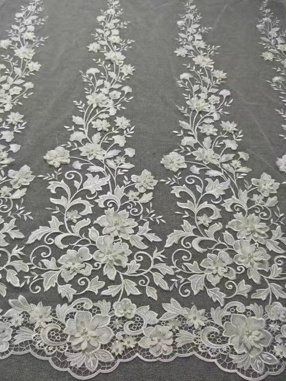 Beautiful 3D Beaded Lace, Floral Embroidery Lace Fabric, Bridal Lace Fabric Prom Dress Haute Couture Fabric By The Yard