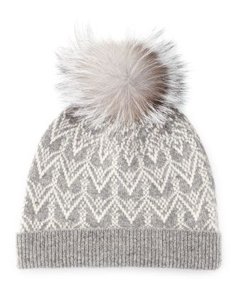 b902016afd4 Cashmere Fair Isle Knit Hat with Fur Pom by Sofia Cashmere at Neiman Marcus.