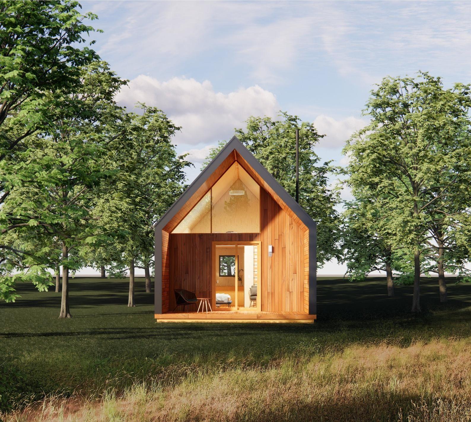 Modern ADU 19 x 28 Catskills Cabin Guest Tiny House Plans and Blueprints