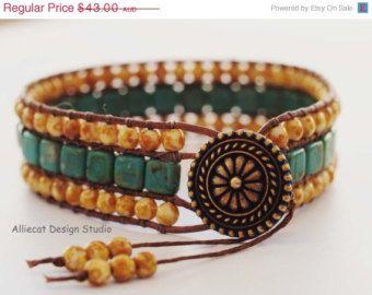 EOFYS SALE Beaded Leather Wrap Bracelet, Triple Row Wrap Bracelet, Boho Wrap Bracelet, Caramel Turquoise Wrap Bracelet (6.5 inch)