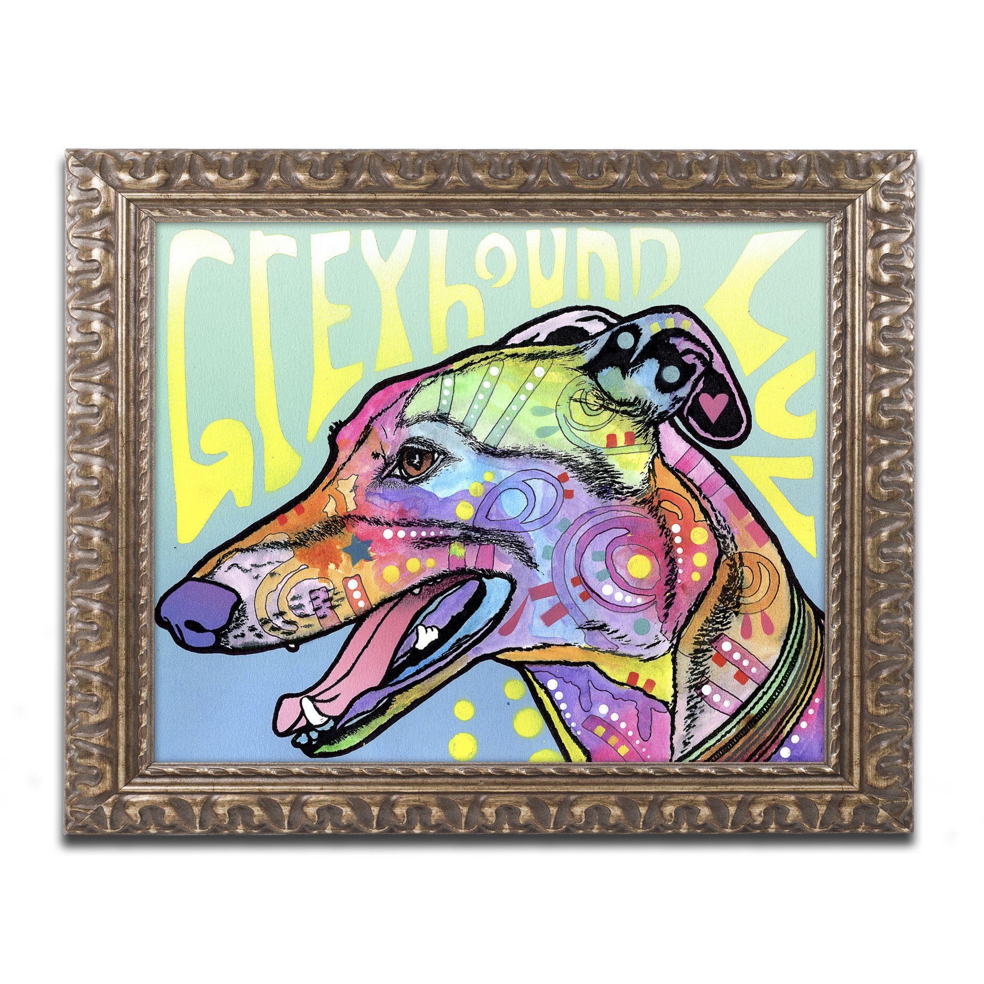 Dean Russo 'Greyhound Luv' Ornate Framed Art