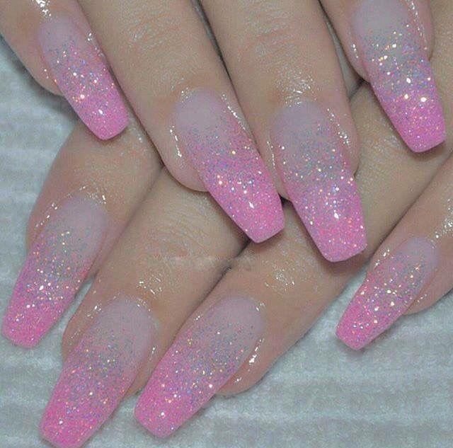 pink ombr233 glitter nails nails pinterest glitter nails