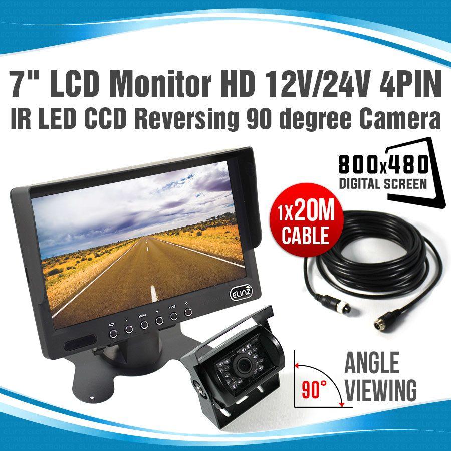 """Digital Wireless Rear View CCD Camera 7/"""" Monitor For Truck Caravan 12V-24V"""