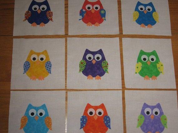 OWLS Applique Quilt Blocks by PAWarren on Etsy | It takes a long ... : owl applique quilt pattern - Adamdwight.com