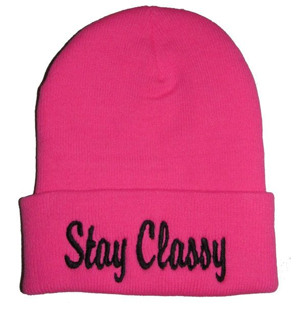 Stay Classy Pink & Black Beanie Hat Cap