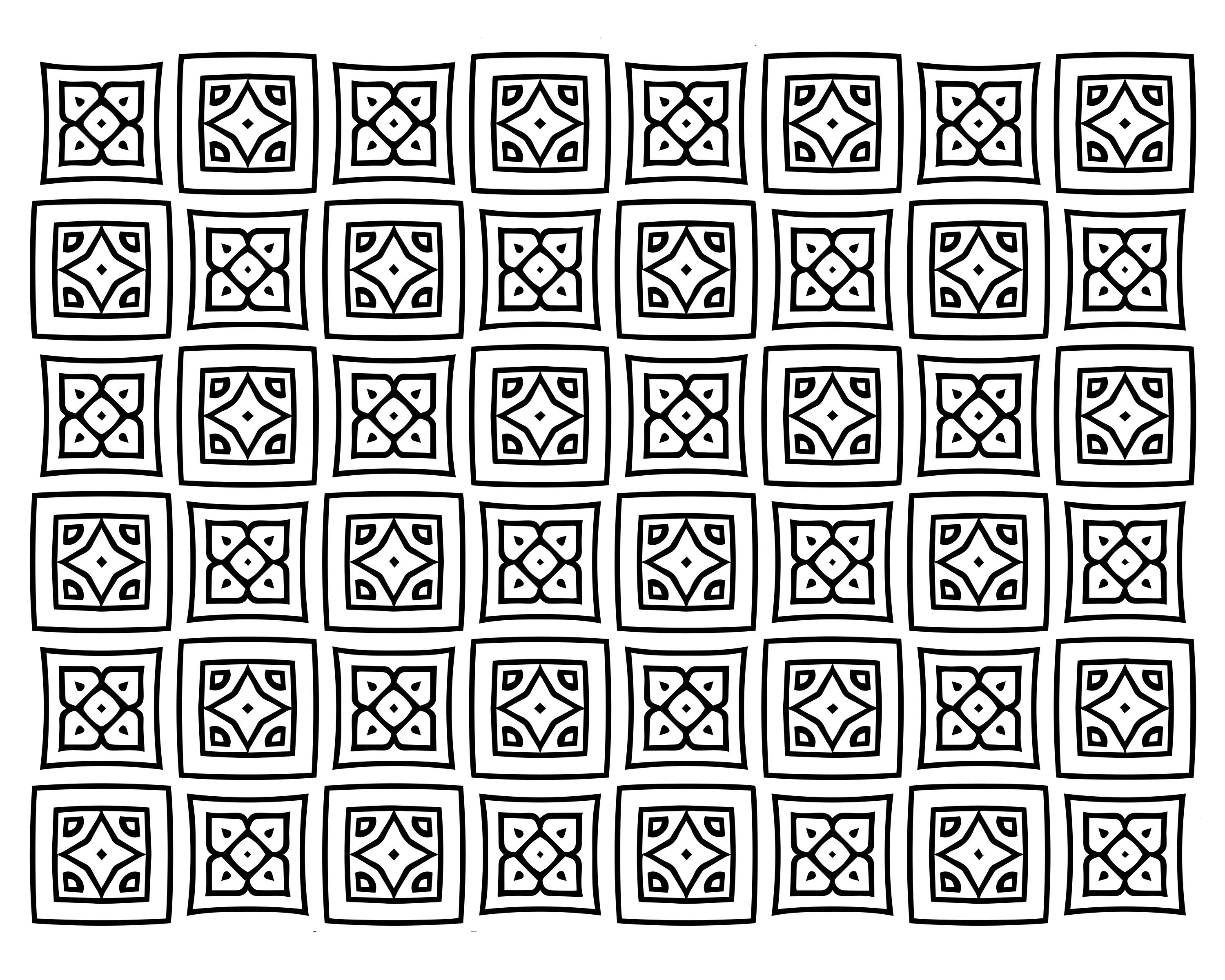 free square quilt pattern adult coloring page - Quilt Block Coloring Pages