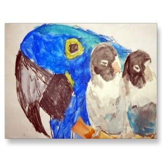"© Kleckerlabor Blog, Parrots , Post Card 4.25""  x  5.6"" www.zazzle.com/kleckerlabor*"