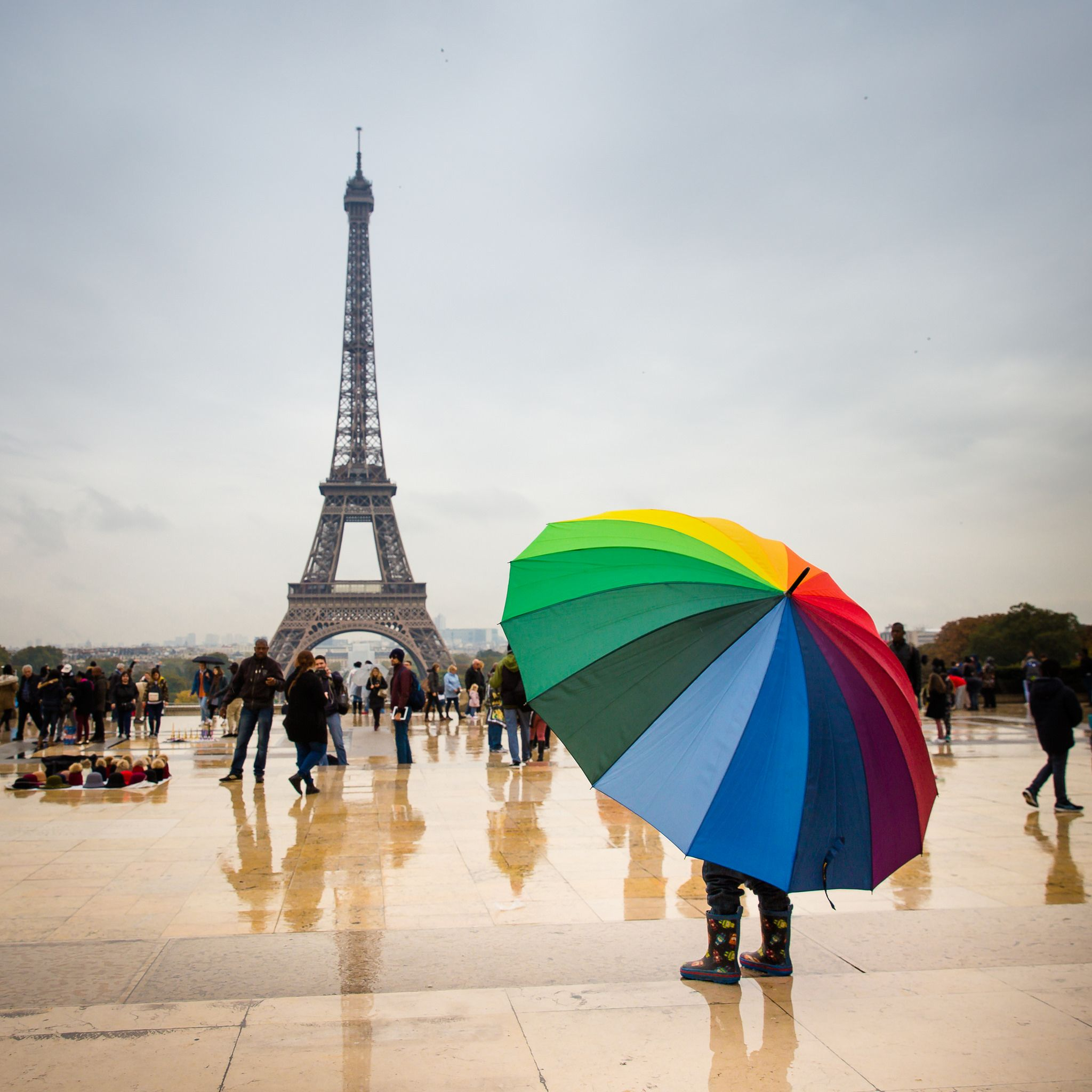 https://flic.kr/p/Nocy5G | Rainy day in Paris | Eiffel tower, rain and colorful umbrella in Paris, France.
