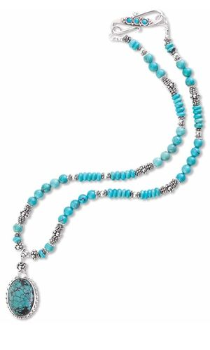 Single-Strand Necklace with Turquoise Gemstone Cabochon Pendant, Turquoise Gemstone Beads and Sterling Silver Rondelles