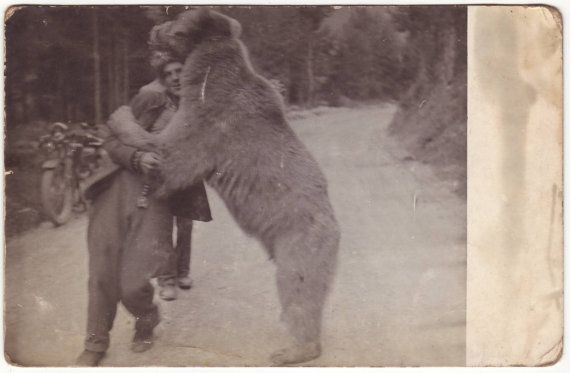 Gypsy with dancing bear. Austrian photo. Early 1900's.