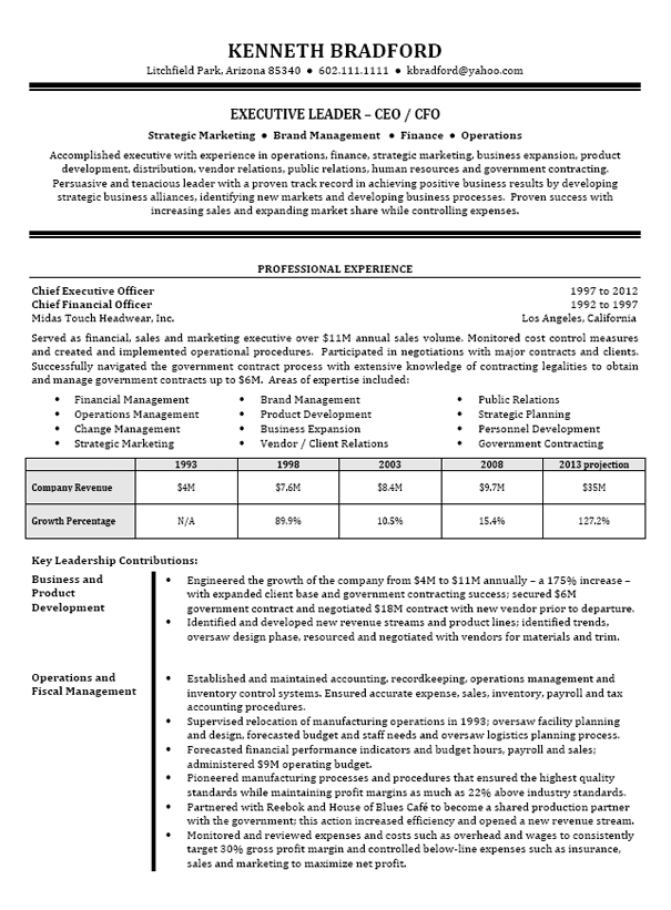 CEO / CFO Executive Resume Example | Executive resume, Resume ...