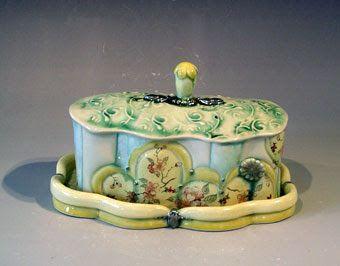 Liz Smith Keramik Blumen Butterdose Keramik
