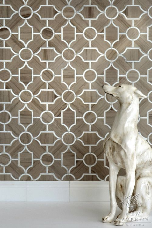 Chatham 1 stone waterjet mosaic in honed Driftwood and Calacatta Tia | New Ravenna