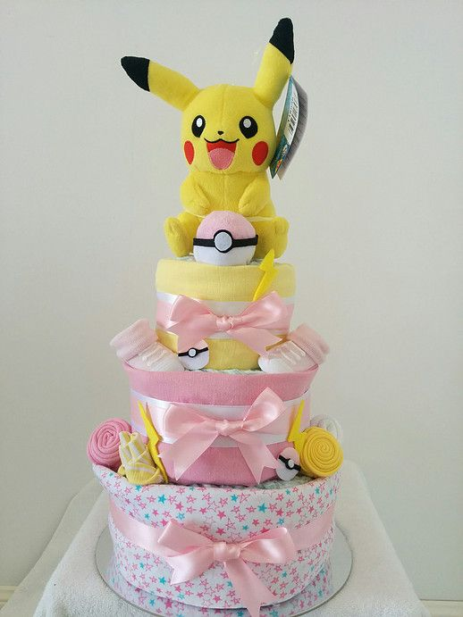 Nappy Cakes By Emma Pokemon Pikachu Cake For A Baby Girl Diaper Yellow Pink Pokeball