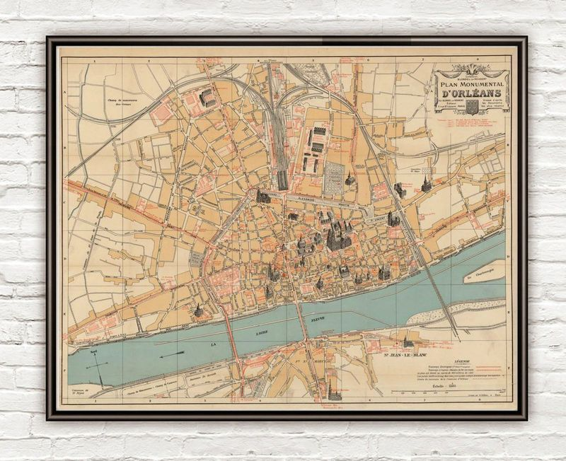 Old Map of Orleans 1912 FranceThis is