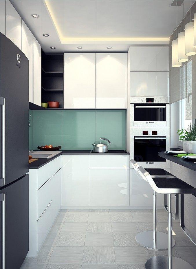 kuche-u-form-klein-weiss-minimalistisch-kleiner-kuechentresen - küche in u form