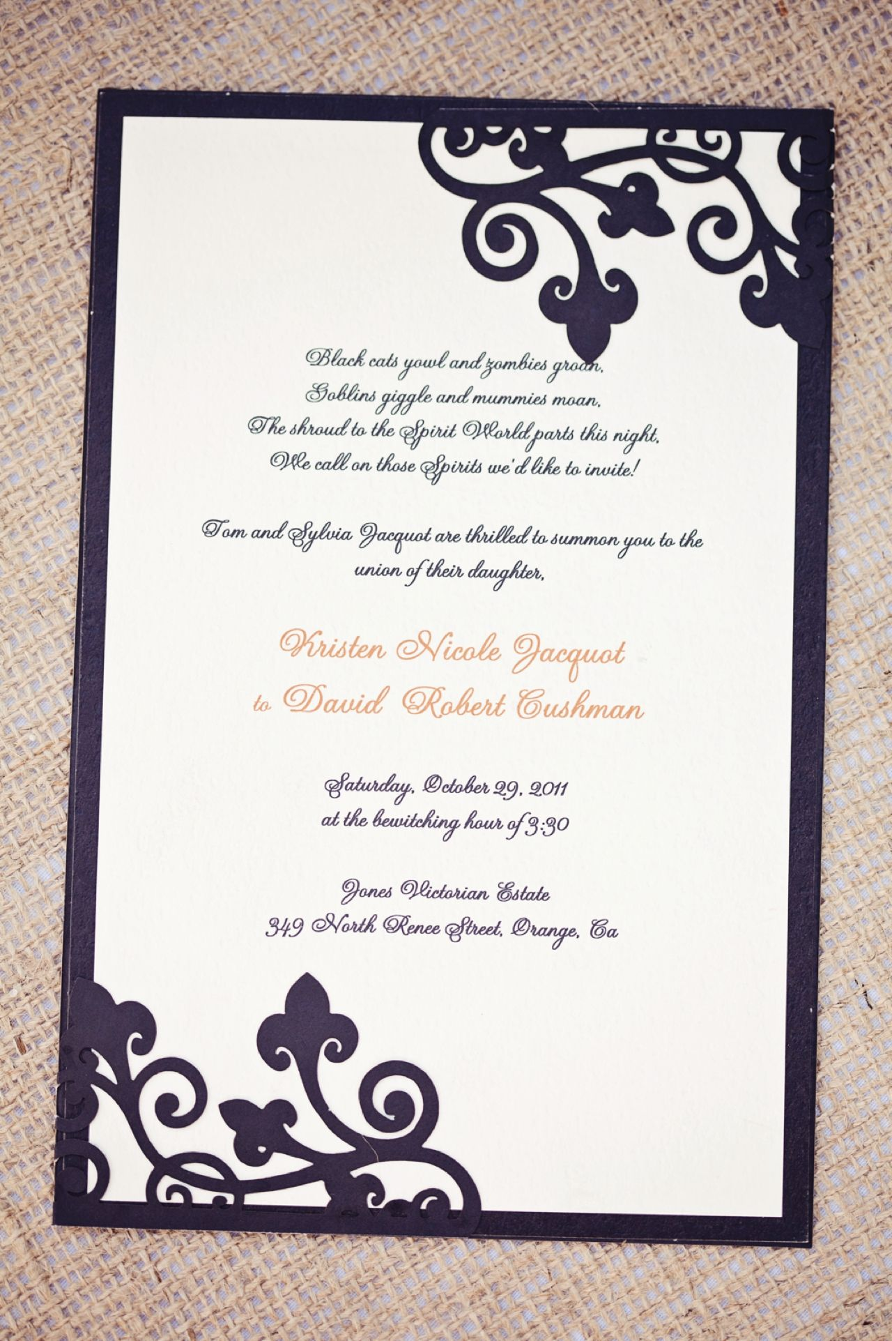 Halloween wedding invitations | Wedding Theme: Halloween | Pinterest ...