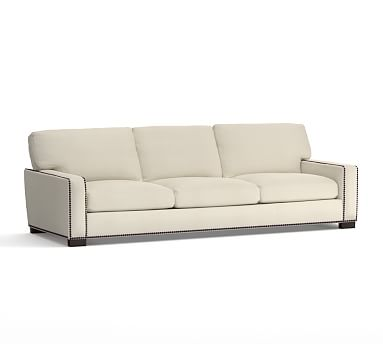 Turner Square Arm Upholstered Grand Sofa with Bronze Nailheads, Down Blend Wrapped Cushions, Washed Linen/Cotton Stone