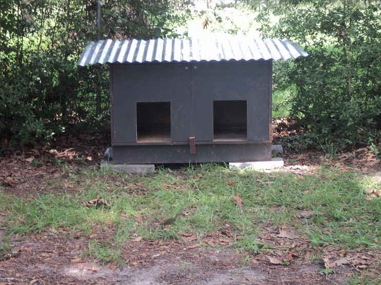 We Needed A Large Dog House It Was Built From A Cabinet Total Cost 20 00 Large Dog House Outdoor Cat House Outdoor Dog House