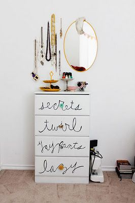 Me want!! A diy-ed cabinet with cool jewely pin-up board style!