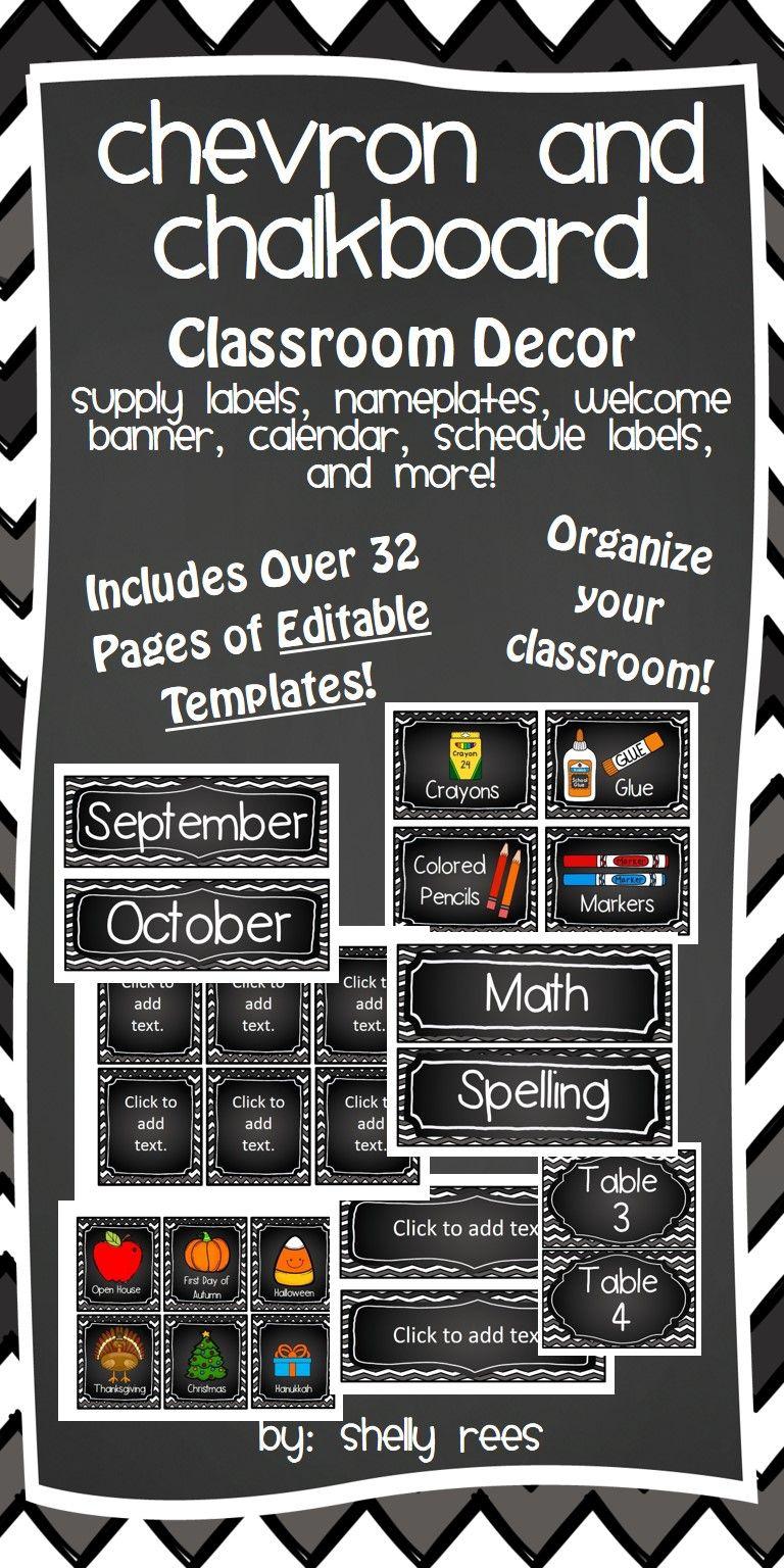 classroom decor bundle editable chalkboard classroom decor