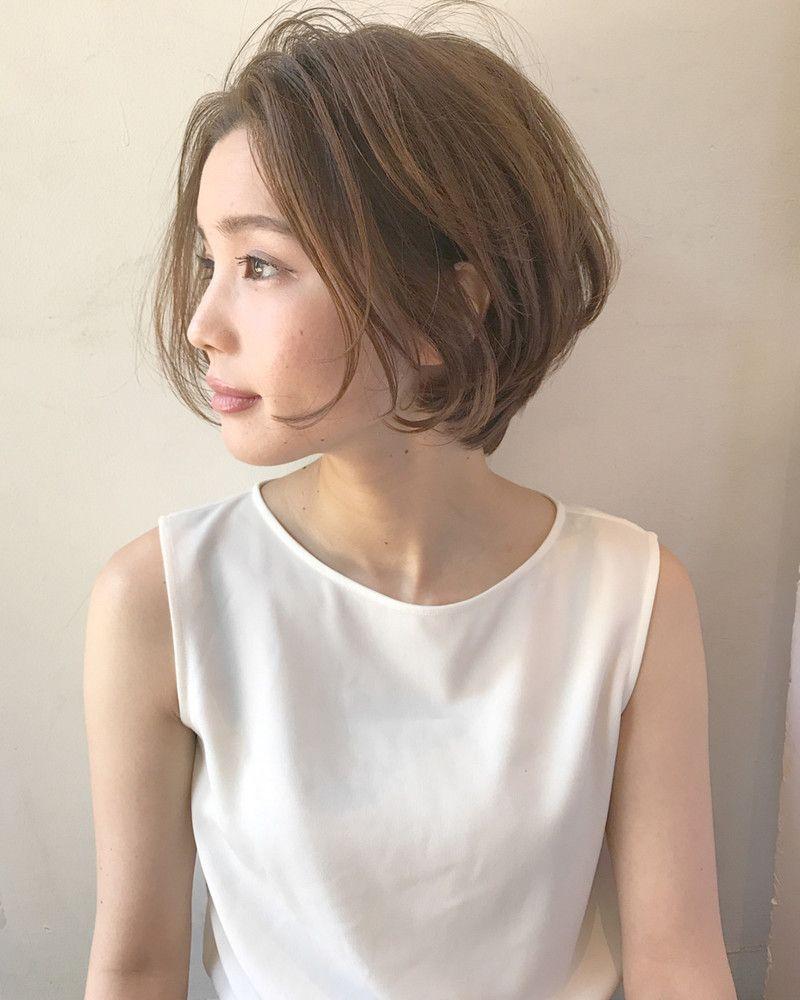 幅広い年齢層に人気のある ショート 前髪なしで大人っぽく 前髪