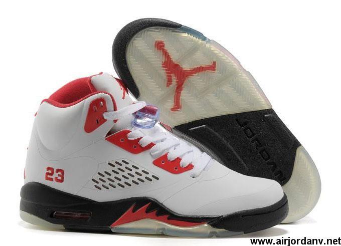 9275ece5fac5 Wholesale Cheap White-Black Fire Red Women Air Jordan 5 (V) For Sale ...