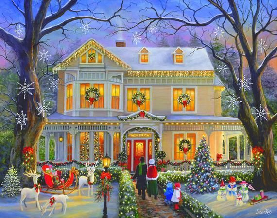 Victorian Christmas Print by Susan Rios, Victorian House at Christmas Art Print,…
