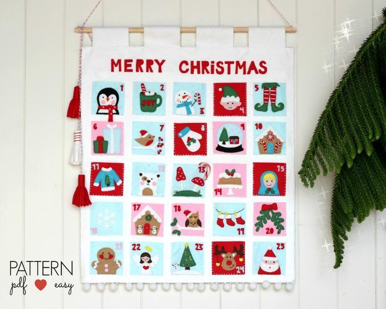 Felt Christmas Advent Calendar Pattern Advent calendars, Felt