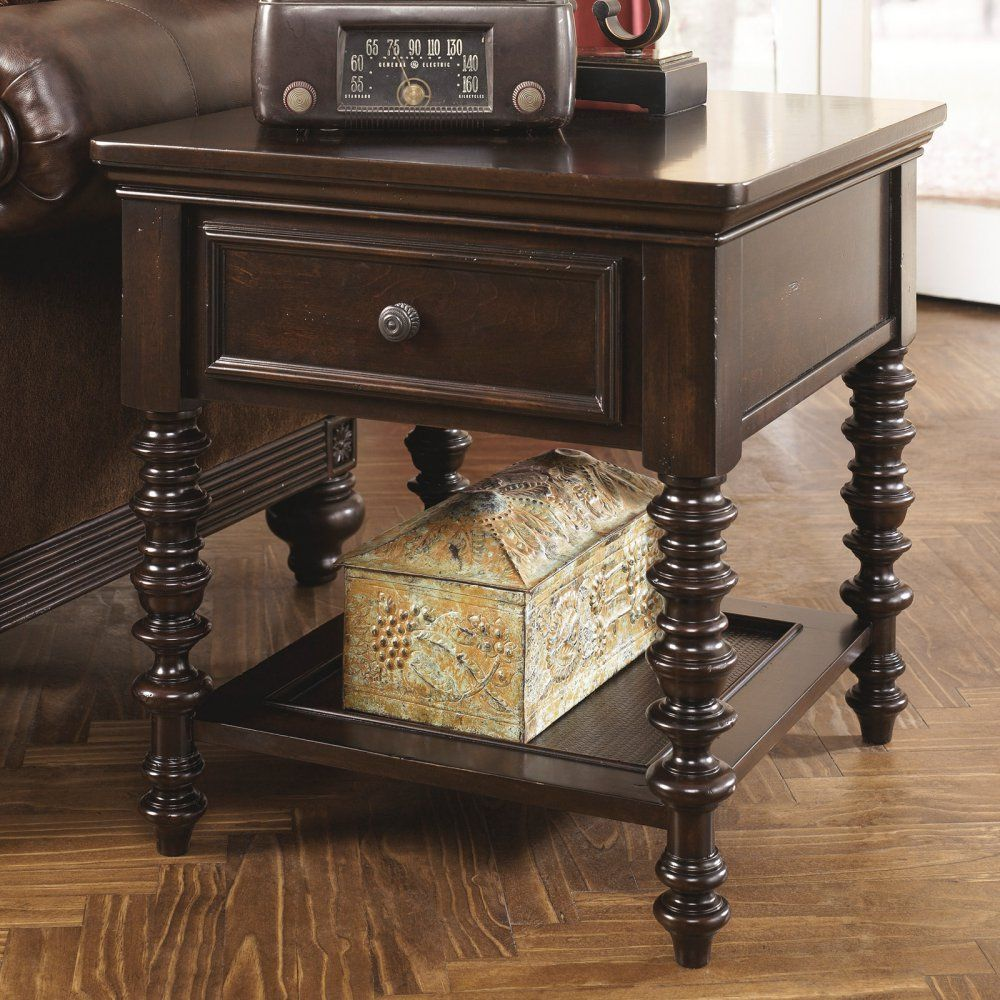 Signature Design By Ashley Key Town Brown Rectangular End Table