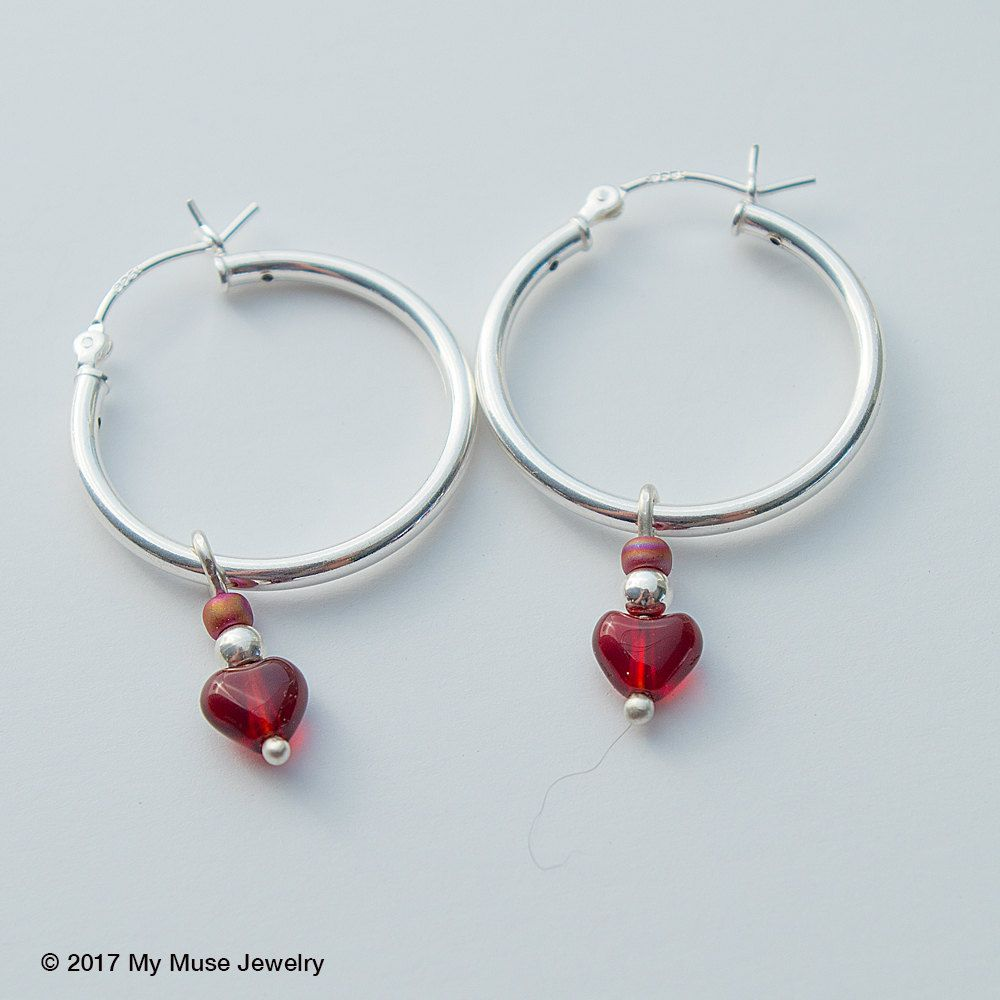 Silver Hoop Earrings, Red Heart Earrings, Gift For Her, Love Earrings, Red  Heart Earrings, Silver Hoop Earrings With Charm, Gifts Under 25