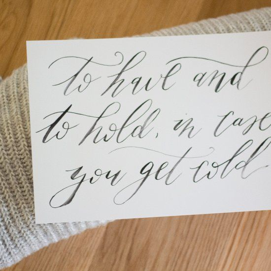 FREE printable: calligraphed signage for winter wedding blankets