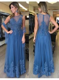 einfach blau lange abendkleider mit spitze perlen bodenlang tüll abendmoden abiballkleider