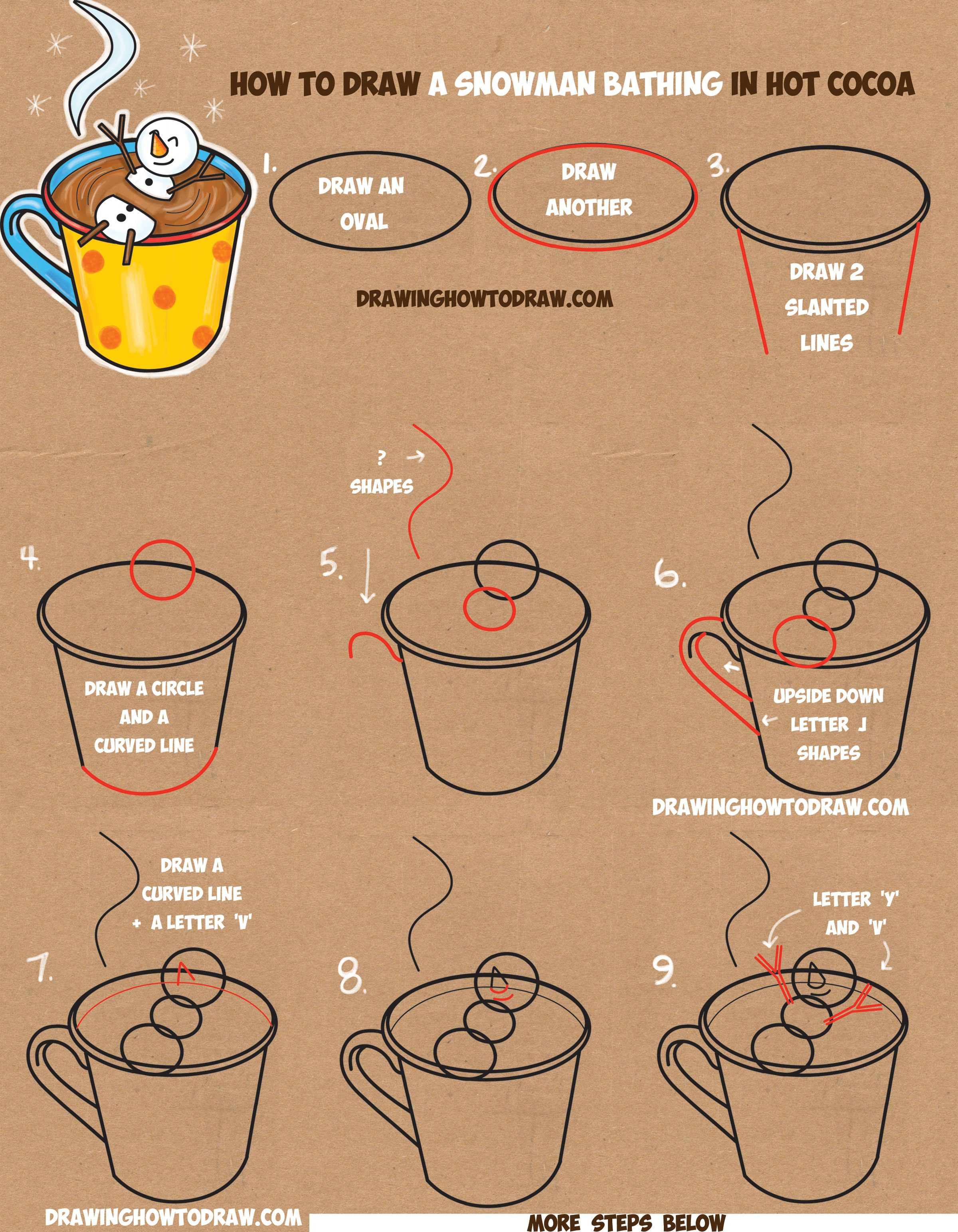 How to Draw a Snowman Bathing in a Hot Cup of Cocoa Easy ...