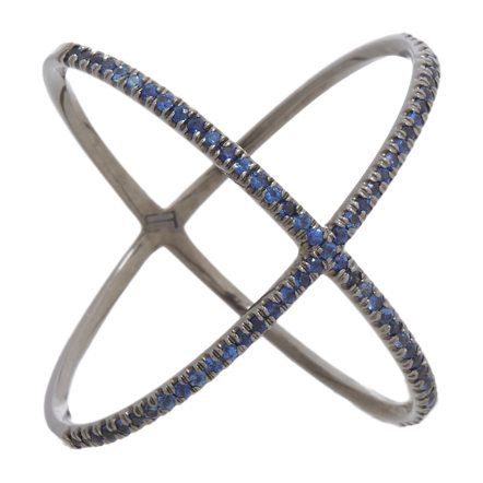 "Eva Fehren Sapphire & Blackened White Gold ""X"" Ring at Barneys"
