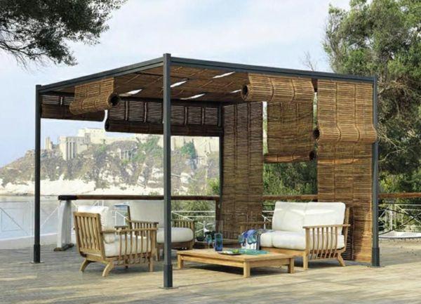 Pergola-bauen-modern-sitzecke-bambus-sessel dachterrasse Ideen - moderne garten mit bambus