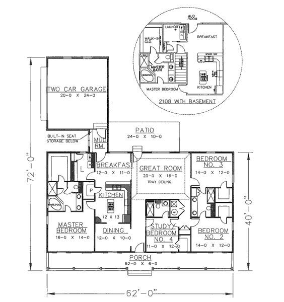 This Southern Design Floor Plan Is 2156 Sq Ft And Has 4 Bedrooms And Has  Bathrooms.
